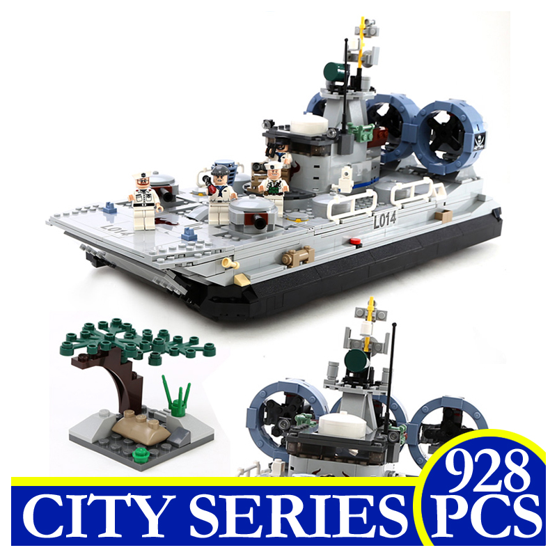 8027 928Pcs City Series Military Marine Cops Hovercraft Assembled Building Blocks Bricks Children Gifts Compatible With LEPIN 1712 city swat series military fighter policeman building bricks compatible lepin city toys for children
