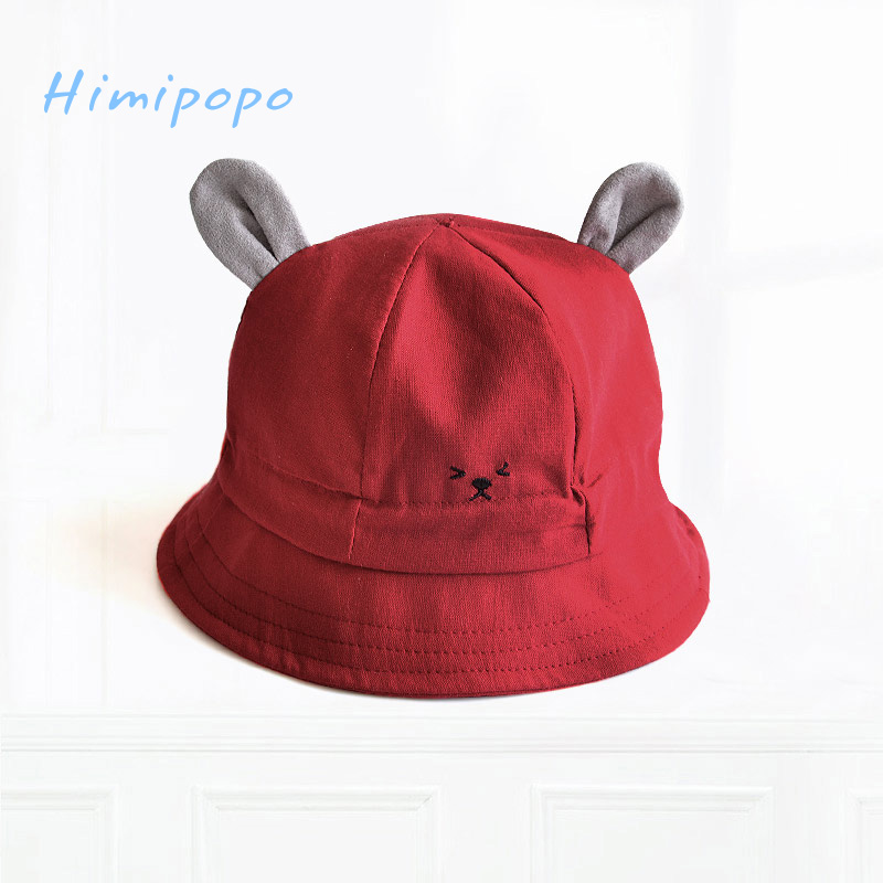 HIMIPOPO Toddler Hat Infant Baby Boys Girls Cute Cat Ear Bucket Hat Adjustable Cotton Beach Cap