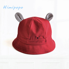 HIMIPOPO Toddler Hat Infant Baby Boys Girls Cute Cat Ear Bucket Hat Adjustable Cotton Beach Cap Summer Outdoor Kid Sun Hat 1-3y