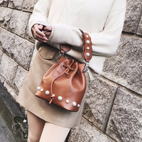 2018 Spring Fashion Pearl Bucket Bags PU Leather Women Shoulder Bags Black Top handle Bag Women Handbags S186