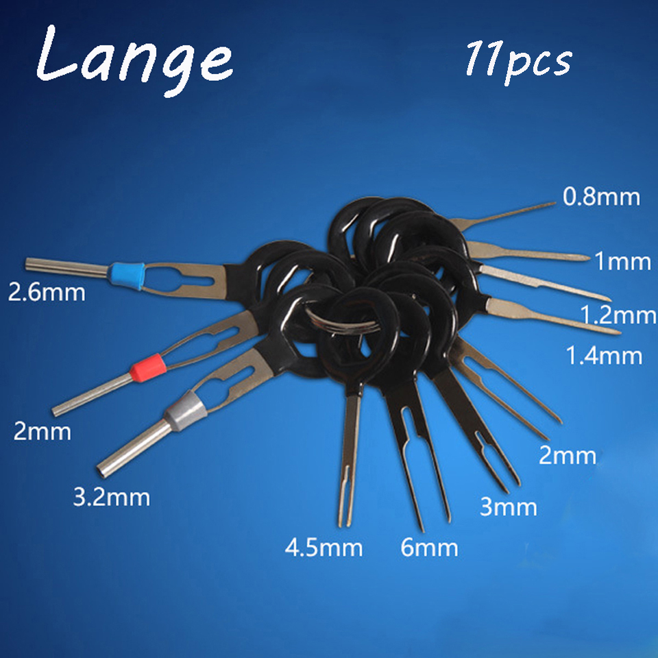 Lange 11Pcs/Set Car Electrical Wiring Crimp Connector Pin Extractor Kit Needle Remove Tool Set Terminal Removal Tools A34 tire repair 11pcs set terminal removal tools car electrical wiring crimp connector pin extractor kit back needle remove tool set