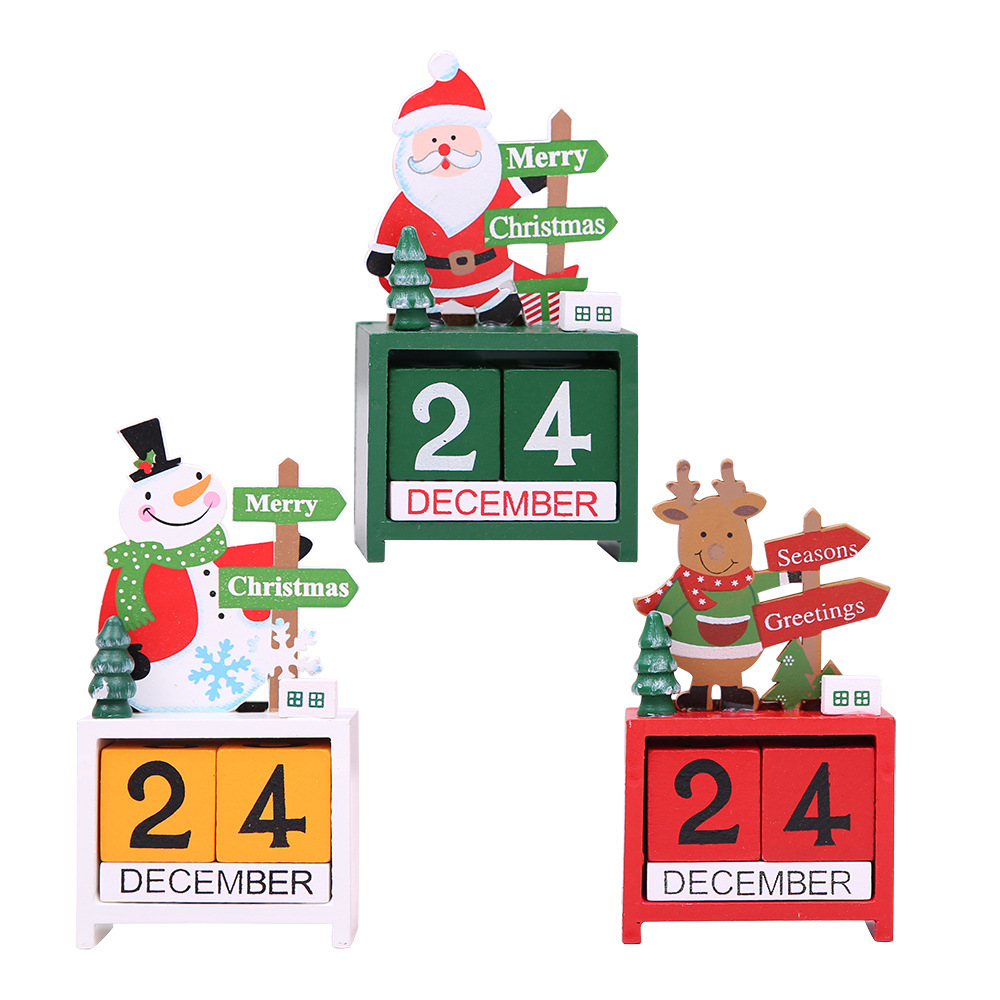 Christmas Decoration Wooden Calendar Cartoon Old Man Snow Elk Desktop Display Home Decor