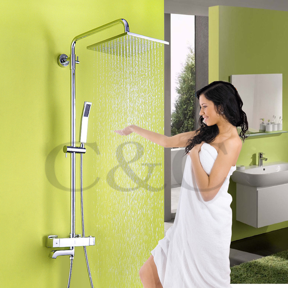 With Wall Mounted Termostatic Shower Faucet Valve 10 Air Drop Square Rainfall Shower Head Rainfall Bathroom Shower Set Faucet