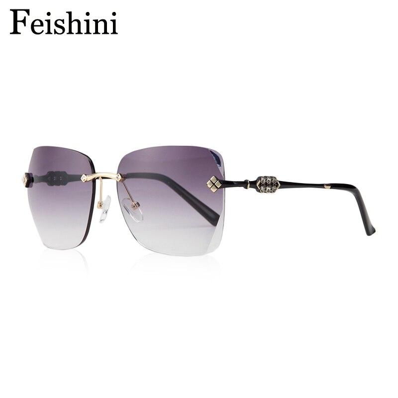 20e7bec202f07 FEISHINI Luxury fashionable Oculos Sexy Sunlass HD CR39 Lens Oversized  Vintage Rimless Sunglasses Women Brand Designer 2017 - us51