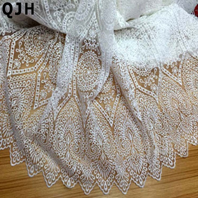 Новый Белый молочный шелк органза высокого качества тюль ткань кружева вышивка мода французское кружево ткань для женщин платье