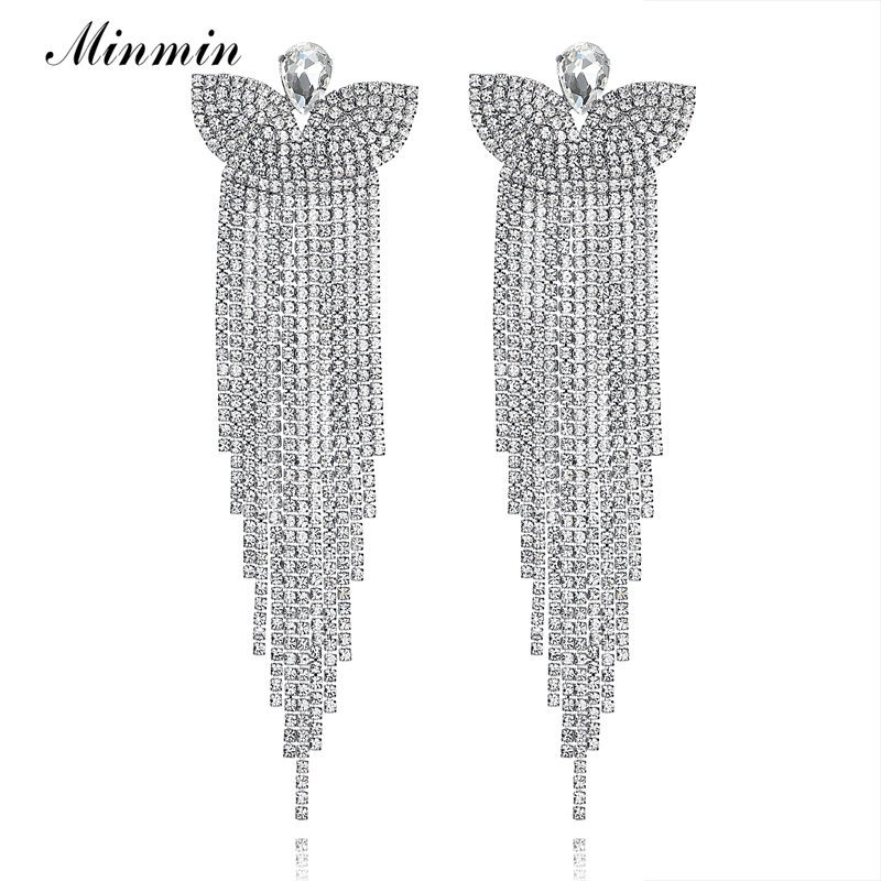 Minmin Silver Color Crystal Bridal Big Long Earrings Butterfly Pendant Dangling Tassel Earrings Wedding Jewelry for Women EH221Minmin Silver Color Crystal Bridal Big Long Earrings Butterfly Pendant Dangling Tassel Earrings Wedding Jewelry for Women EH221