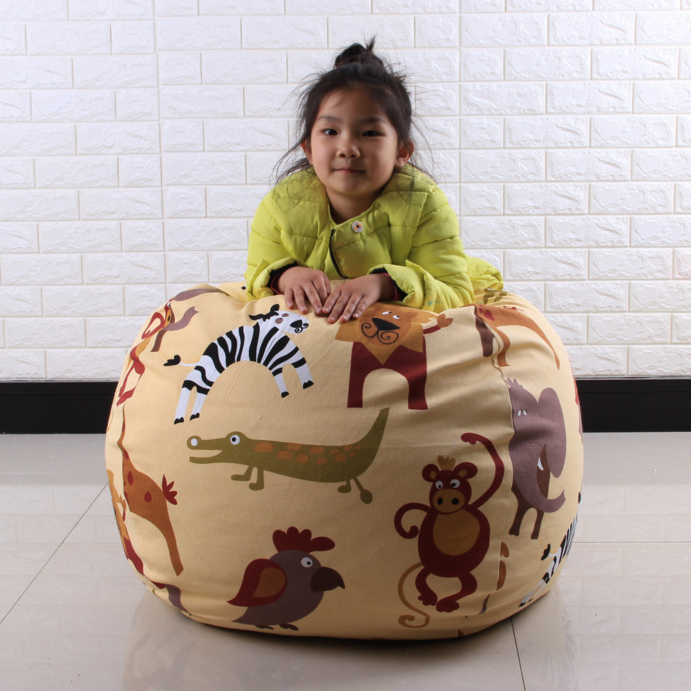 Kids Stuffed Animal Plush Toy Storage Bean Bag Soft Pouch Stripe Fabric Chair #30 1