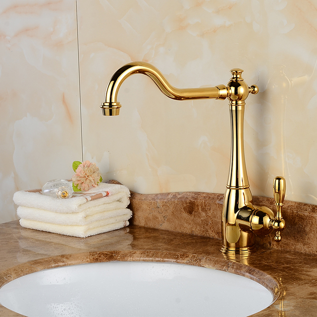 Brand Quality Golden Kitchen Faucets Basin Faucets Mixer Tap ...