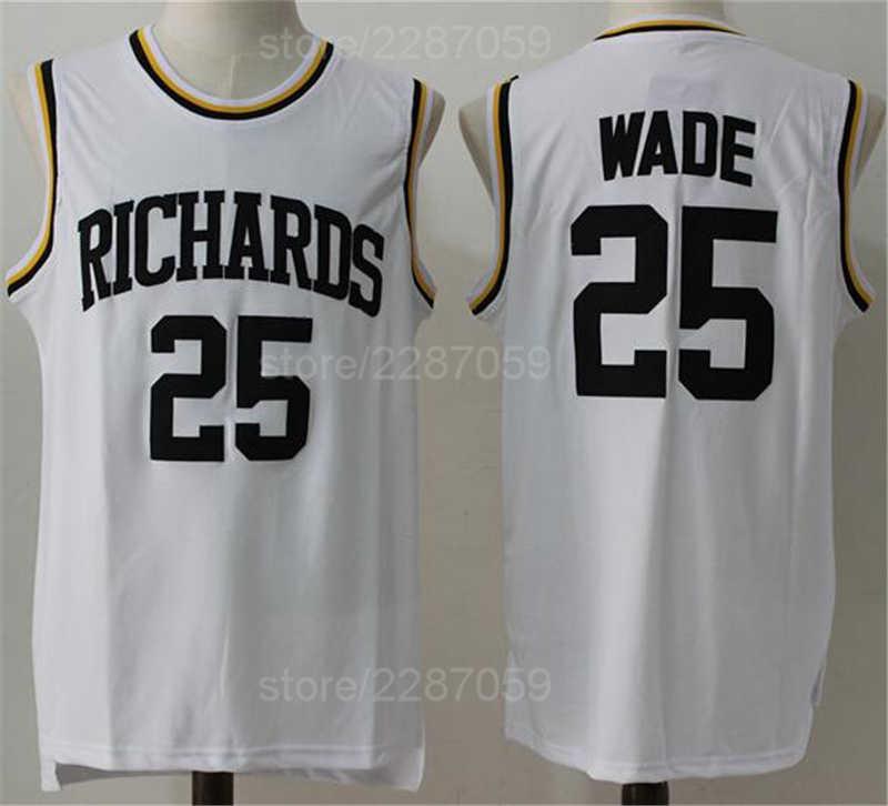 Ediwallen Men Dwyane Wade 25 High School Basketball Highlights Of Richards  Jerseys White Color Stitched Sale 8252795bf