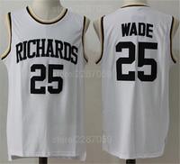 Ediwallen Для мужчин Дуэйн Уэйд 25 школы Баскетбол выделяет Ричардс Майки белый Цвет прошитой продажа Бесплатная доставка