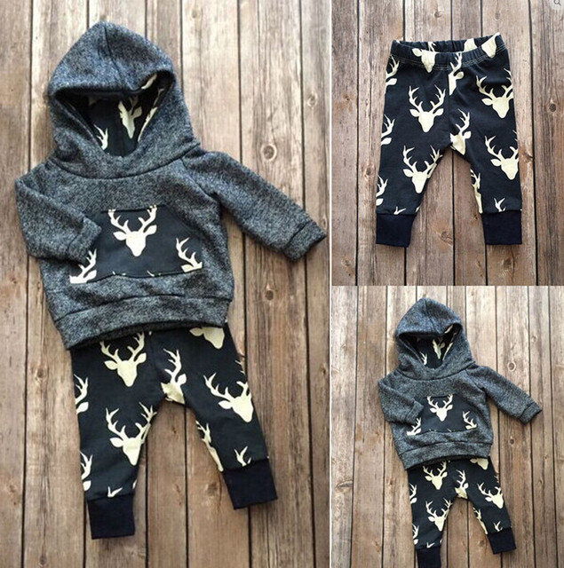 e9178a4ab9518 Newborn Baby Boys Girls Clothes Hooded Christmas Deer Pattern Hoodie Tops+Pants  Infant 2pcs Suit