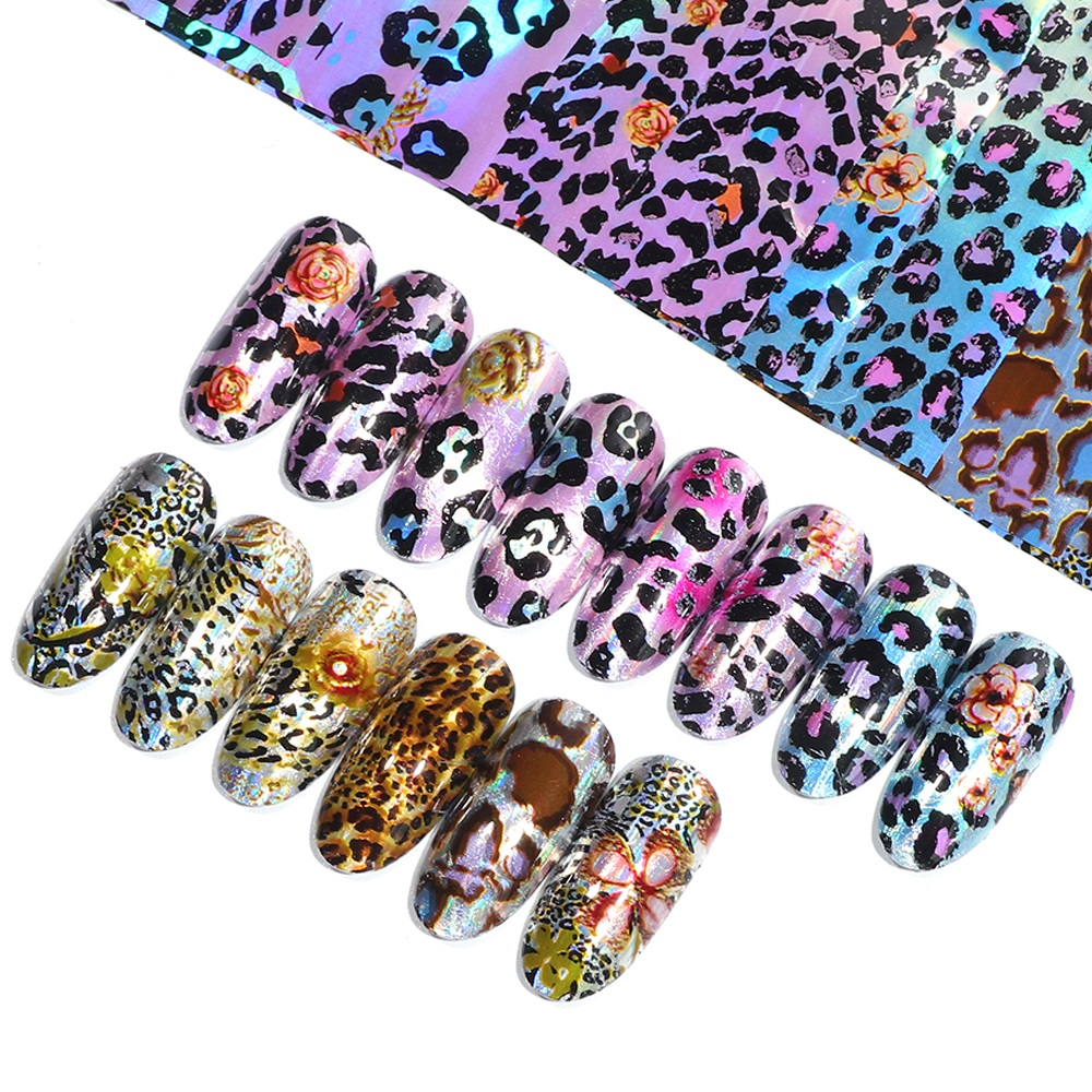 US $0 41 31% OFF|16 Designs/set Black/White Leopard Nail Art Water Transfer  Stickers Decals Beauty Full Wraps Manicure Decoration DIY Accessory-in