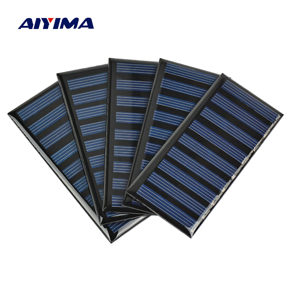 Aiyima 5pcs 5V 100MA Solar Panels Polycrystalline Epoxy Solar cells SunPower 86x38mm DIY Solar Battery Charger Painel Solars