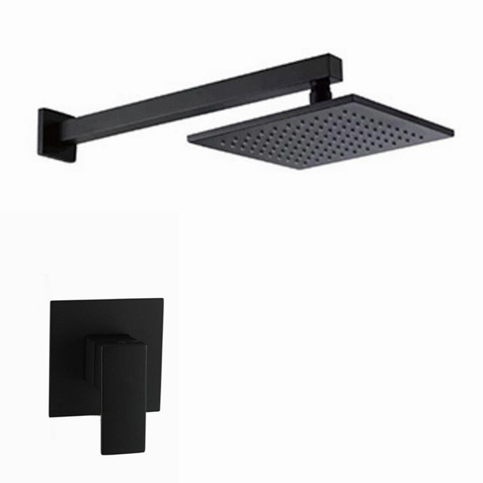 Solid Brass Black Bath Shower Set Bathroom 8/10/12 Inch Rain Shower Head Wall Mounted Shower Arm One Way Mixer Set  IS222