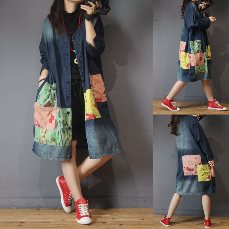 Spring Autumn Women Casual All-match Ultra Loose Plus Size Vintage Patchwork Water Washed Denim   Trench   Outerwear