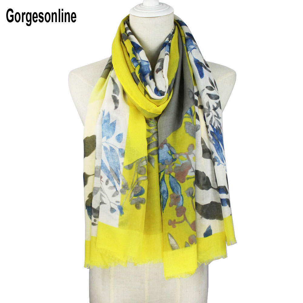 Women Cotton Scarf Flower Stylish Long Shawl Bright Colorful Spring Summer Scarf Brand New