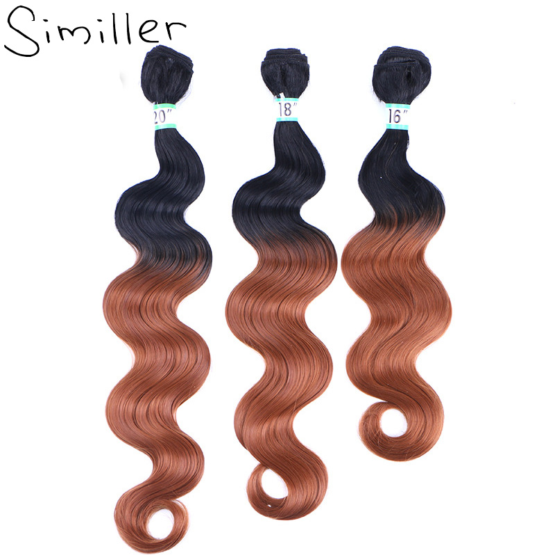 Similler 16 18 20 Long Synthetic Hair Extensions Ombre Two Tones Double Weft Weaving T1/27/30 One Bundles ...