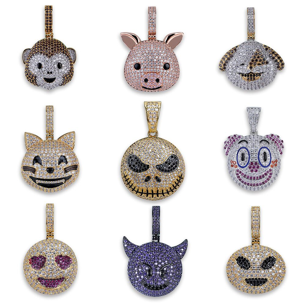 Fashion Character Emoji Iced Out Cubic Zircon Necklaces & Pendants Men's Hip Hop Bling CZ Charm Chains Jewelry Necklaces Gifts