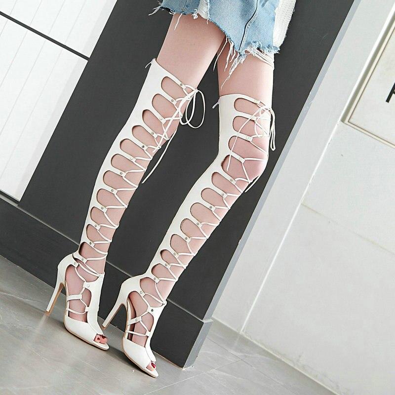 Apricot Nouveau Mode Chaussures De Talons Bout À Ouvert Sandales Mince Zipper Liée 2019 blanc Hauts Soirée Noir Été Spartiates Sexy noir Croix Femmes CZPqwRP