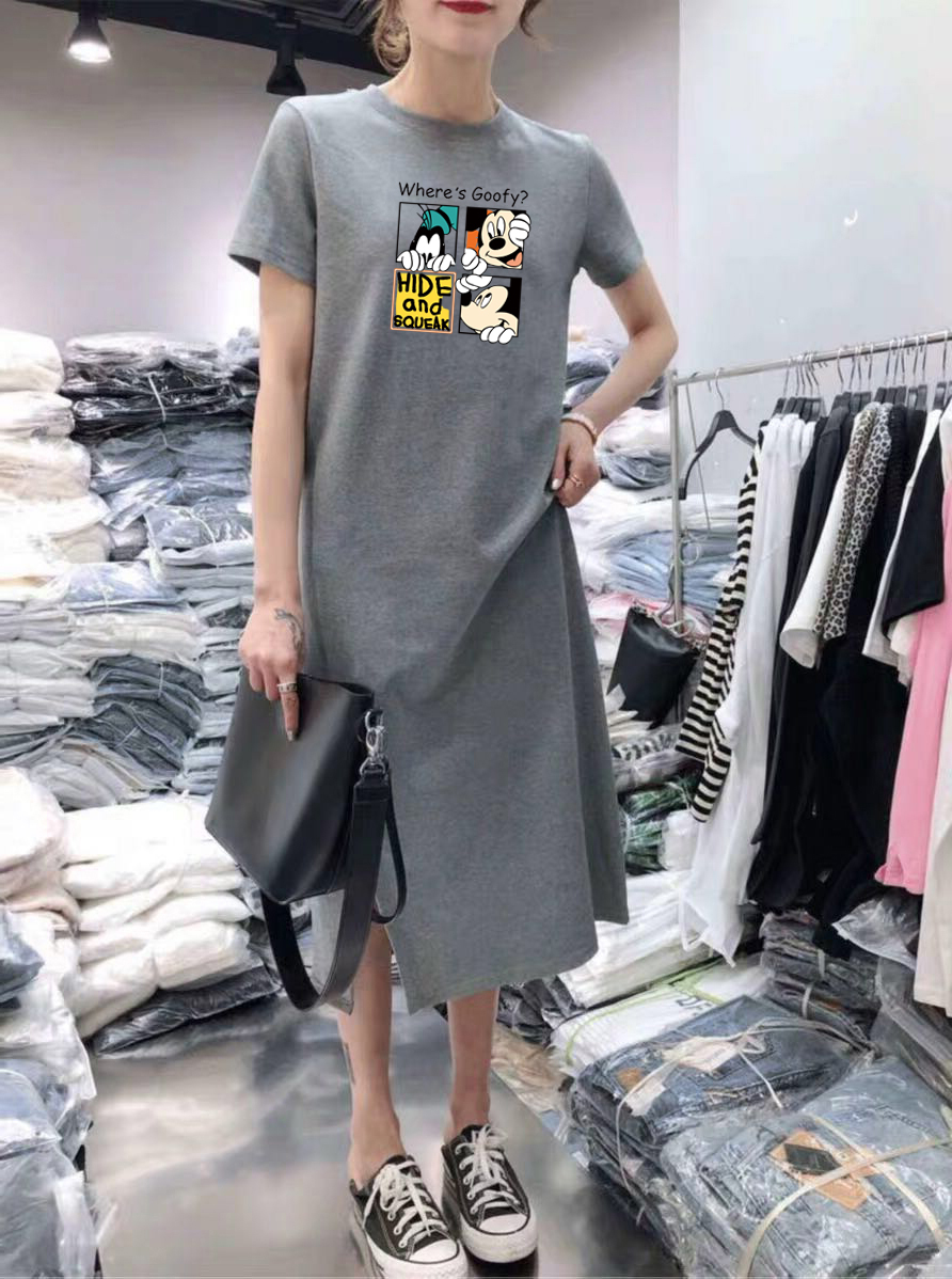 Summer Cartoon print women dress short sleeve O-Neck Medium long Mickey Mouse dresses Casual clothes 19 vestidos 8