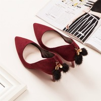 dwayne Teahoo Fur Pompom Women Pumps Faux Suede Sexy High Heels Shoes Woman 7.5 CM Stiletto Heels Women Shoes for Wedding/Party/