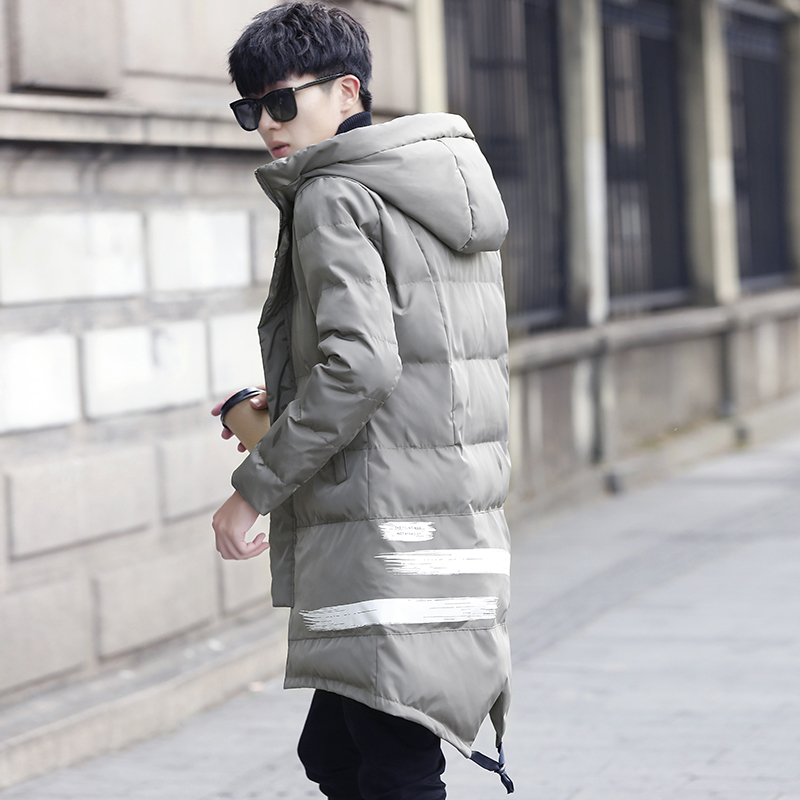 все цены на  2017 winter coat cotton men long section personality Korean version of the young men's warm hooded jacket Free shipping  онлайн