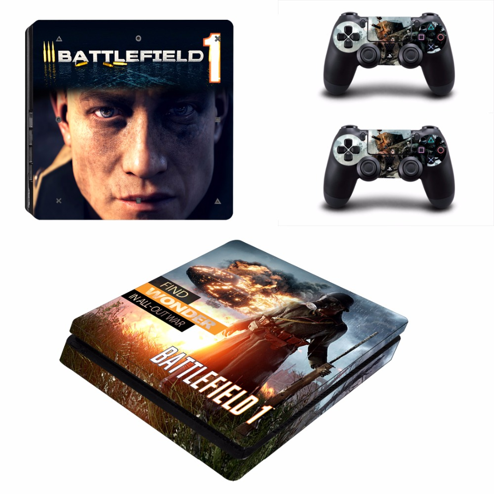Game Battlefield 1 PS4 Slim Skin Sticker For Sony PlayStation 4 Console and 2 Controllers PS4 Slim Skins Sticker Decal Vinyl
