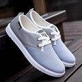 Los hombres Zapatos Casuales de Malla Transpirable Otoño Primavera Pisos Zapato de Lona Hombre hombres Caminar Trotar Zapatos de Gran Tamaño Blanco Azul 868324