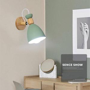 Image 3 - Lampe murale nordique en bois massif, lampe de chevet créative et simple, pour salon, escalier, hôtel, allée, chambre à coucher