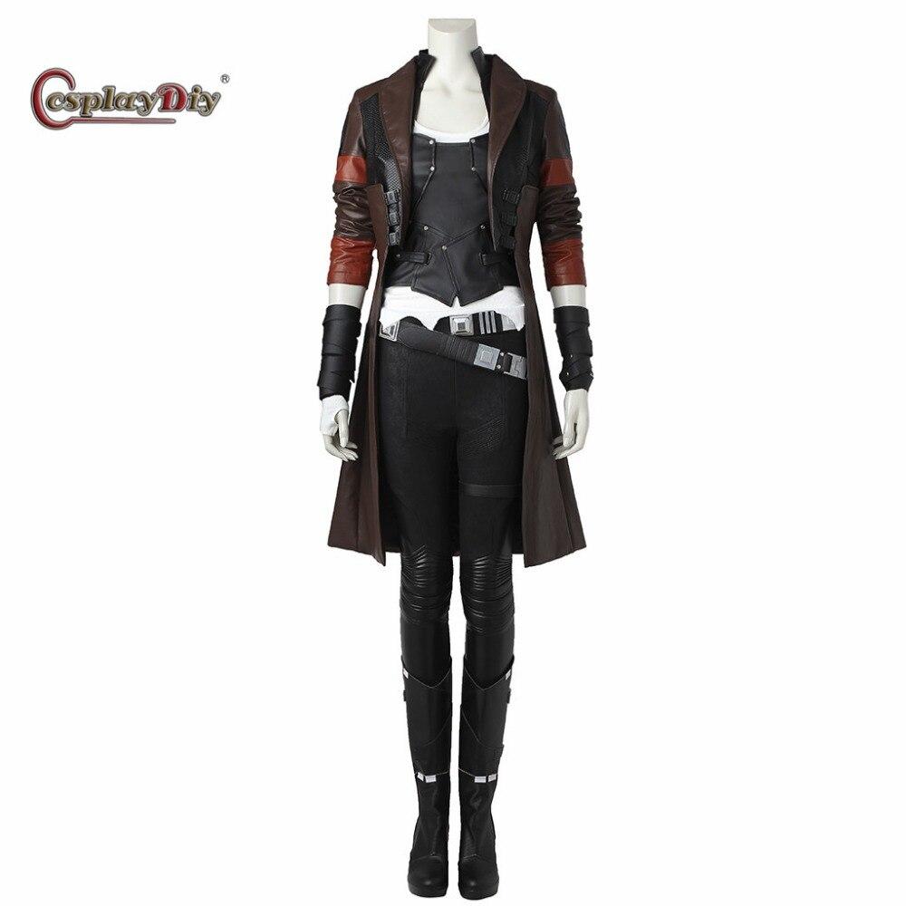 Cosplaydiy Guardians of The Galaxy 2 Gamora Cosplay Costume Superhero Adult Women Halloween Carnival Full Outfit Custom Made