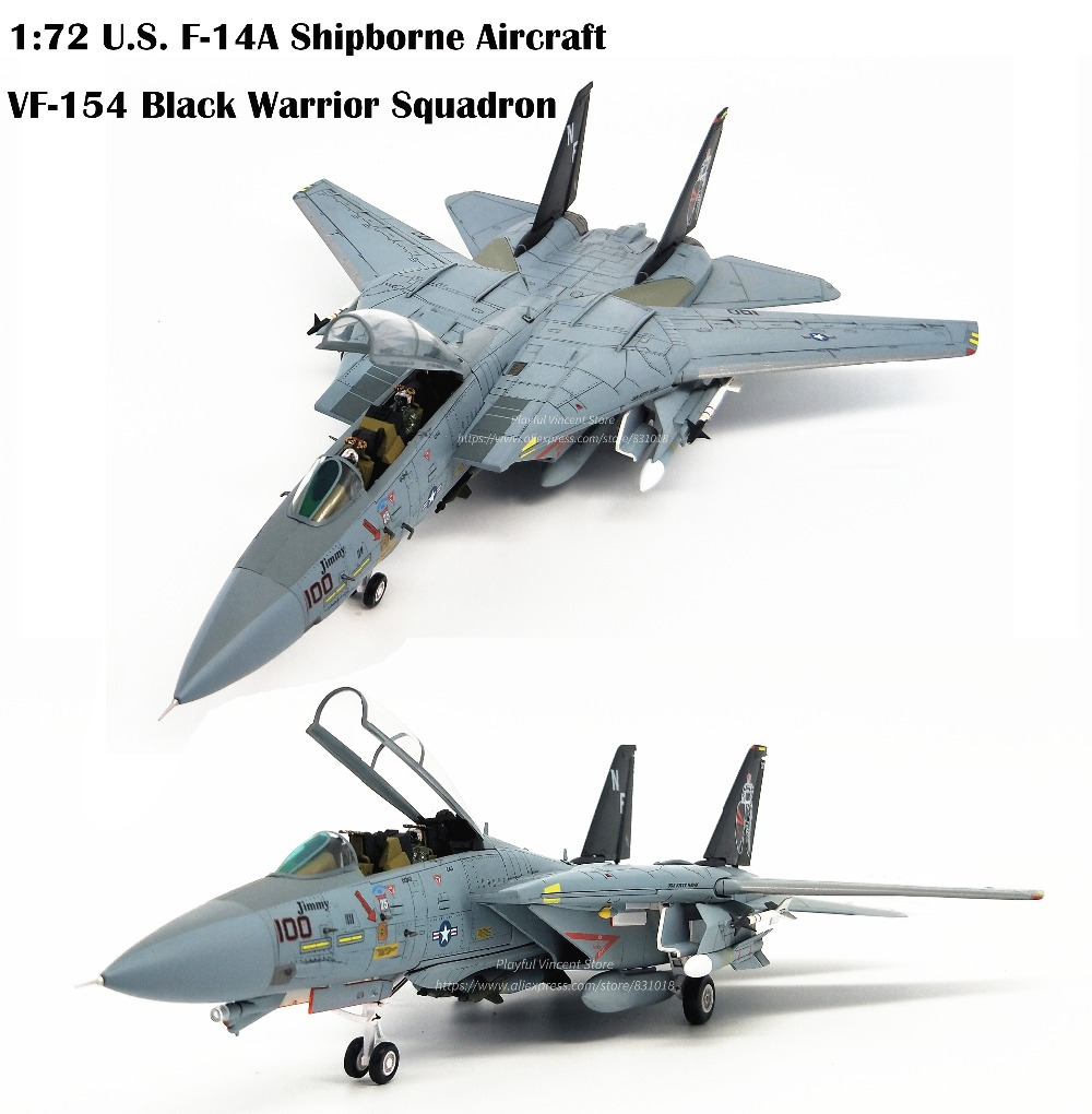 Boutique  1:72 U.S. F-14A Shipborne Fighter  Alloy Aircraft Model  VF-154 Team  Collection Model