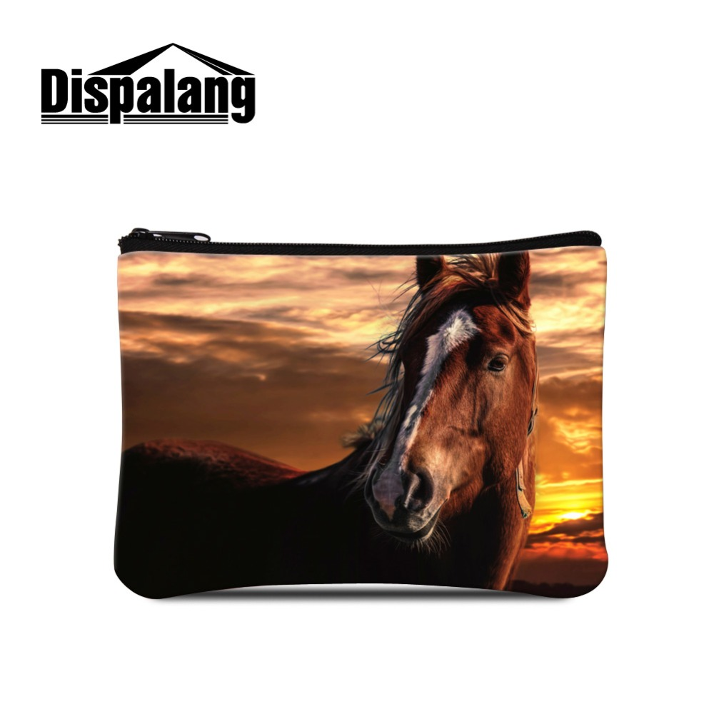 Luxury Women's Polka Dot Striped Floral Printed Polyester Square Coin Pouch Lady Style 16*11.5CM Design Horse Unicorn Patterns