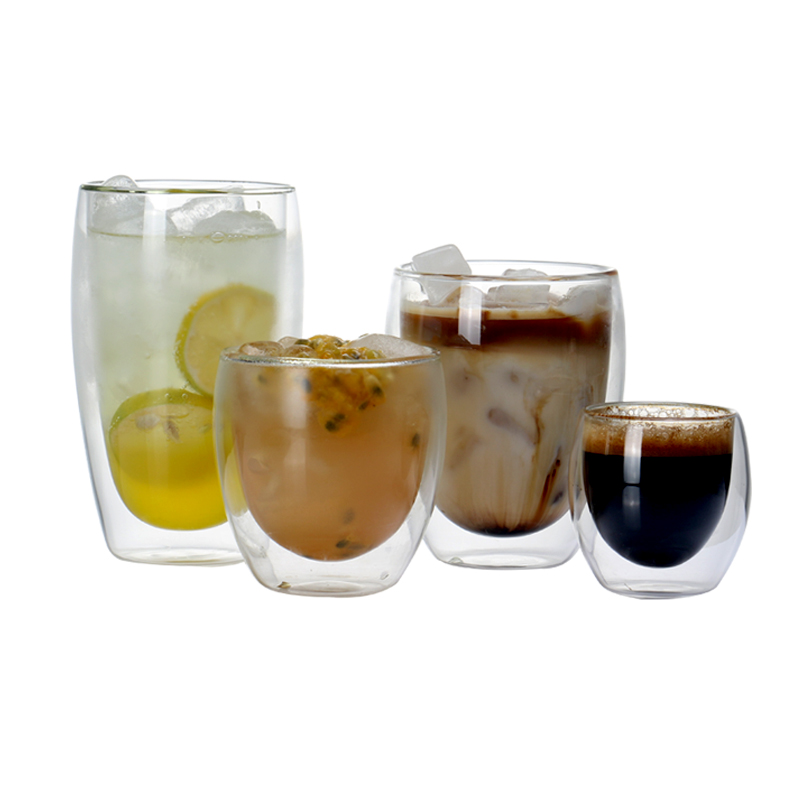 Set of 2 Double Wall Glass Coffee Mug Heat Resistant Tumbler Tea Cup for drinkware espresso 80/250/350/450ml