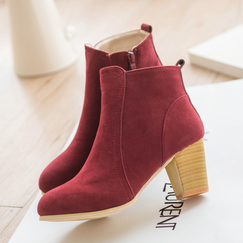 Autumn and winter short cylinder boots with high heels boots shoes Martin boots women ankle boots with thick scrub size35-39