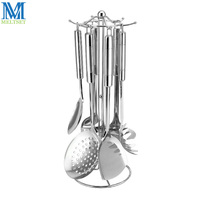 7pcs Stainless Steel Kitchen Utensil Set Spader Spaghetti Spoon Soup Ladle Spatula Colander Rice Scoop Cooking