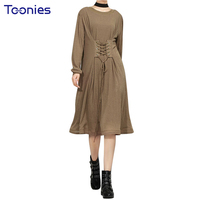 European American Style Women Dress Solid Bandage High Waist Empire Knee Length Dresses Loose O Neck