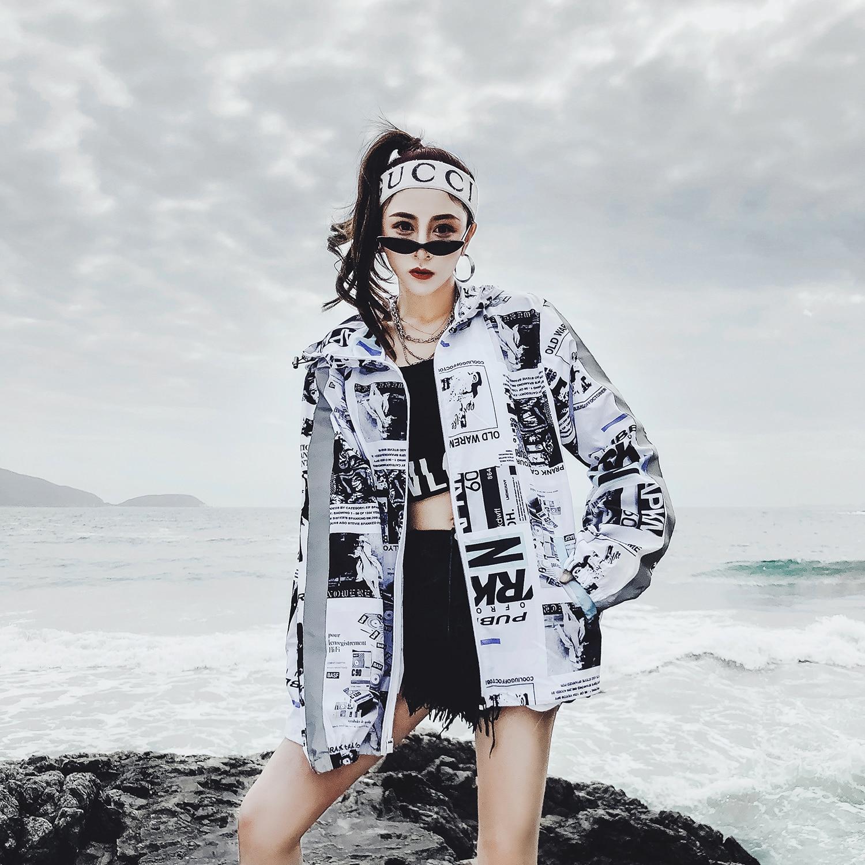 Bomber Jacket Women Harajuku Printed Pilot Jacket Hip Hop Streetwear Japanese Casual Printing Basic Baseball Jackets Outwear