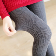 2018 Hot Sale Warm Leggings Women's Winter Warm Skinny Slim Leggings Stretch Knitted Thick Stirrup Pants