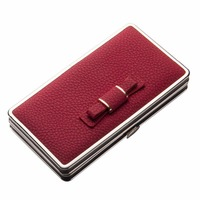 New Luxury PU Leater Women Casual Wallet Metal Side Leather Cellphone Case Bag Bow Money Female