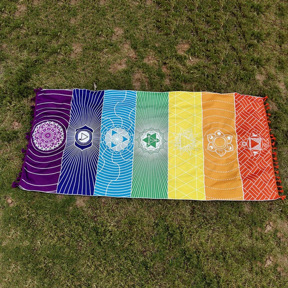 Gift Polyester Bohemia Wall Hanging India Mandala Blanket 7 Chakra Colored Tapestry Rainbow Stripes Travel Beach Yoga Mat