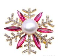 Wholesale price ^^^ Beautiful 12 13mm White Freshwater Pearl Snowflake Style Brooch Pendant Jewelry