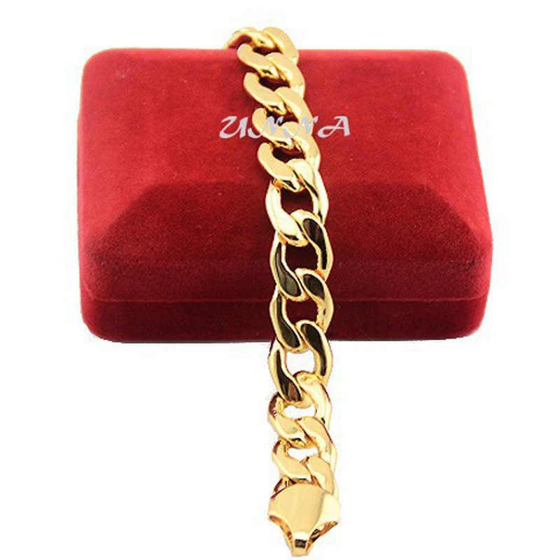 12mm męskie dla obu płci żółty stałe złoto wypełnione krawężnika bransoletka Chunky łańcuszki akcesoria