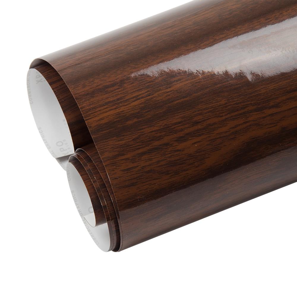 0.6 m x 2 m Brillant PVC Grain De Bois Texturé Intérieur De la Voiture Décoration Autocollants Étanche Meubles Porte Automobiles Vinyle Film