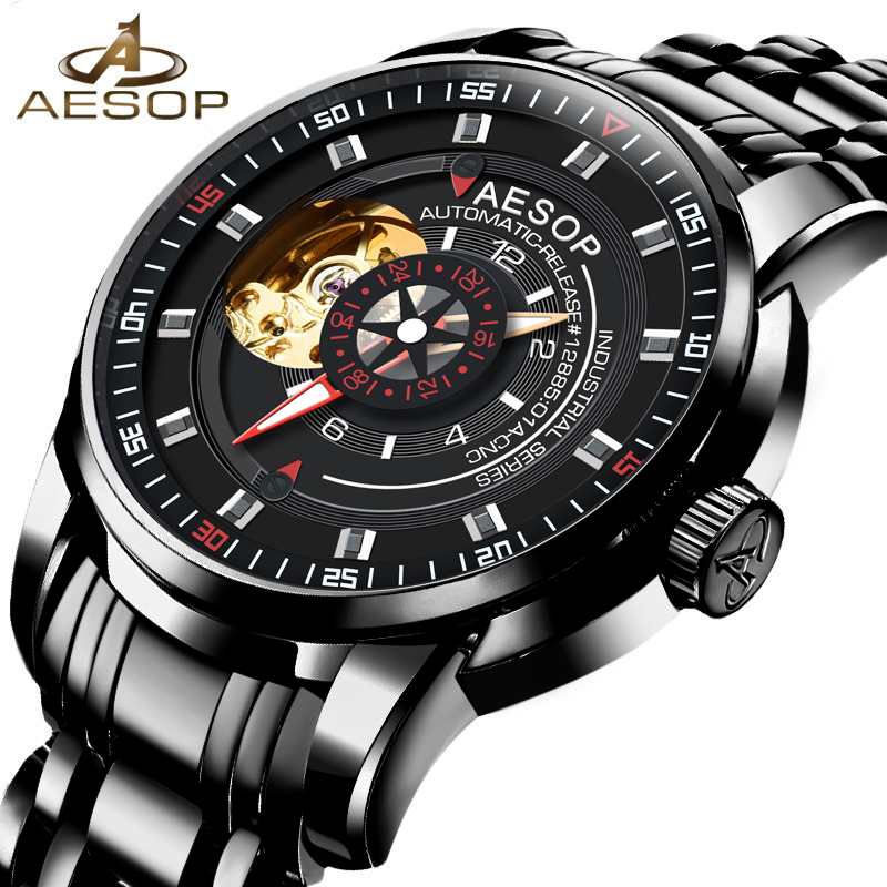 AESOP Top Brand Luxury Black Watch Men Automatic Mechanical Waterproof Wrist Wristwatch Male Clock Relogio Masculino Hodinky 46 aesop luxury men watch men brand automatic mechanical wrist stainless steel wristwatch male clock relogio masculino hodinky 46