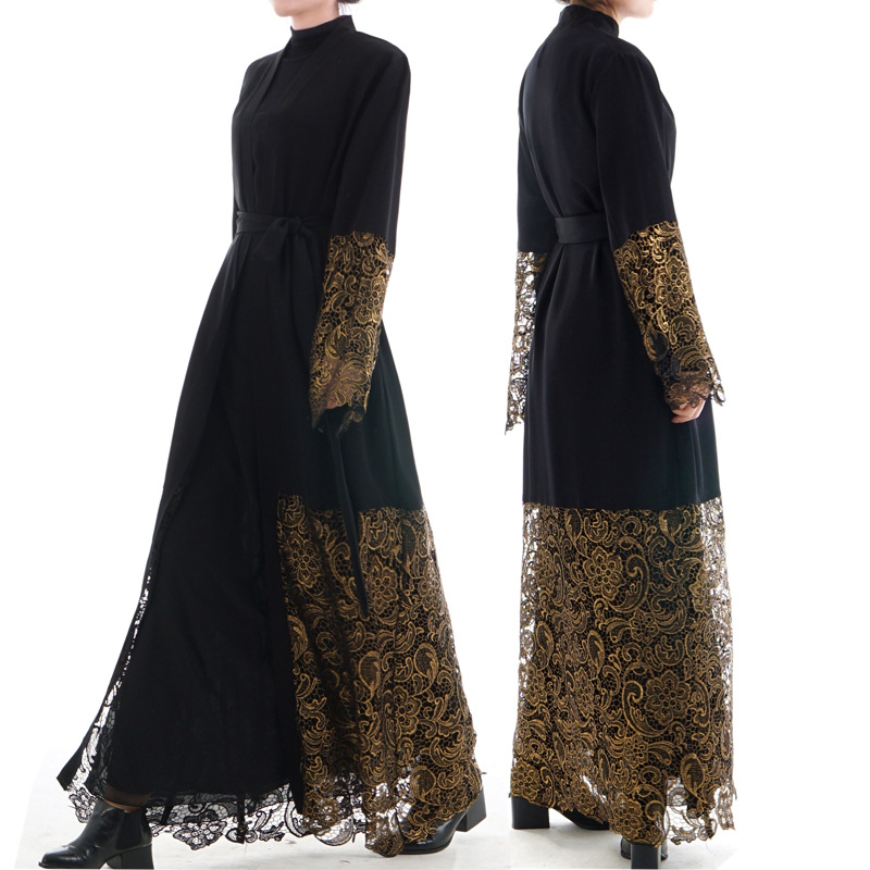 Muslim Middle Eastern Fashion Lace Embroidery Loose Cardigan Long Robes Female Black Turkish Dubai Thobe Prayer Maxi Dress