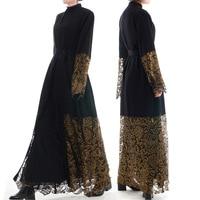 Muslim Middle Eastern Fashion Lace Embroidery Loose Cardigan Long Robes Female Black Turkish Dubai Thobe Prayer Maxi Dress
