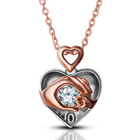 Angel Caller Mom Loves Baby Hand In Hand 925 Sterling Silver Zircon Charm Heart Necklace Pendant