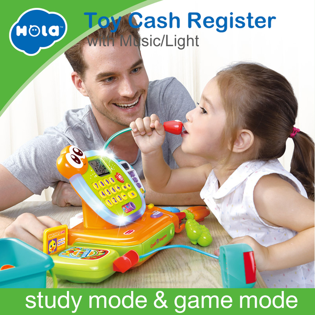 toy cash register with scanner microphone calculator play pots