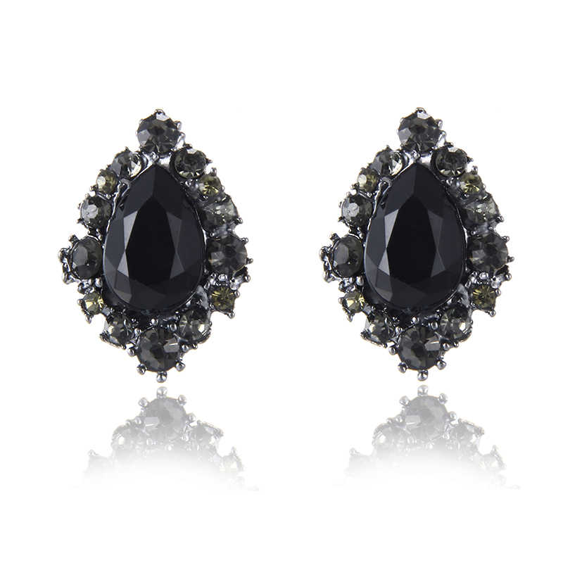 E0230 New Arrival Vintage Black Rhinestone Stud Earrings For Women Fashion Jewelry Water Design Crystal Stud Earrings Hot Sale
