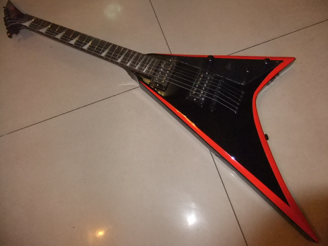 Wholesale Jackson Flying-V Electric Guitar Mahogany Body/Neck,Black with orange stripe side 101220 customised electric guitar lp model with floyd black mahogany body and neck high grade build in customer specs way